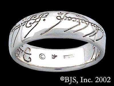 Sterling Silver One Ring of Power, Licensed Lord of the Rings Jewelry, Hobbit