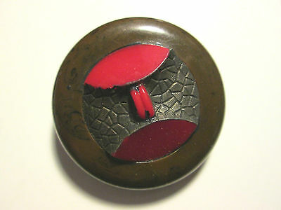 VINTAGE Button*Large BAKELITE COAT BUTTON w RED EMBELLISHMENT