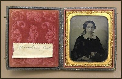 "19th Century 1/6 p. Ambrotype ""Grandma Oat"" Hand Tinted Photograph & Union Case"