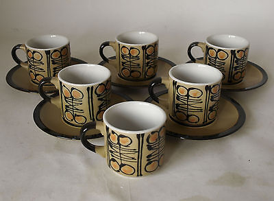 Vintage Retro 60s/70s Set of 6 STONEWARE COFFEE MUGS/CUPS & 5 SAUCERS Japan