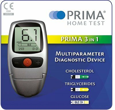 Cholesterol Glucose & Triglycerides Testing Meter Kit - Prima 3-in-1 Home Test
