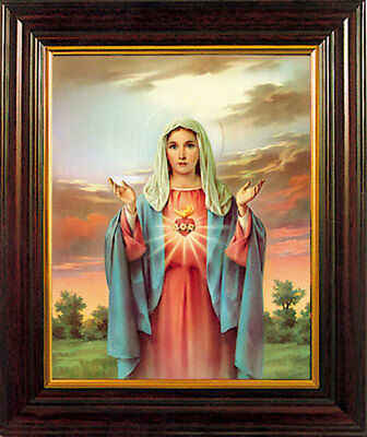SACRED HEART OF MARY FRAMED PICTURE 100's OF RELIGIOUS STATUES & CANDLES LISTED