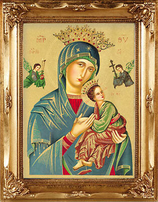 Our Lady Of Perpetual Help Gold Framed Picture Statues Candles Crucifixes Listed