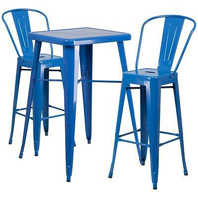 Blue Metal Indoor-Outdoor Bar Table Set With 2 Barstools