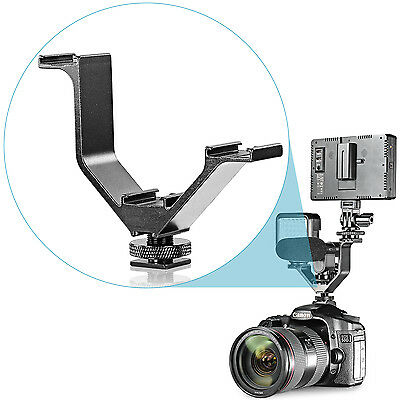 "Neewer Aluminium Alloy 4""/10.5cm V-shape Triple 3 Cold Shoe Mount Flash Bracket"