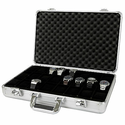 Watch Case for 24 Watches Collectors Briefcase Aluminum TSBOXAL24