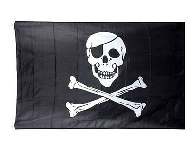 FD3237 Pirate Skull Crossbones Cross Bones Jolly Roger Banner Flag Eyelet Large☆