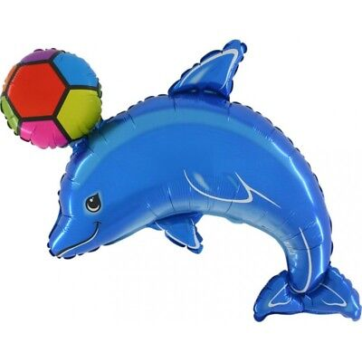 Delightful  BLUE DOLPHIN with ball Luau Beach Ocean Sea Party Balloon