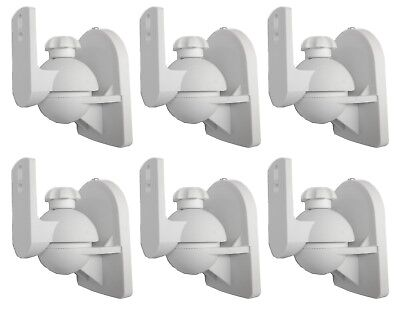 White Universal Wall or Ceiling Speaker Mounts Brackets fits BOSE 6 Pack Lot