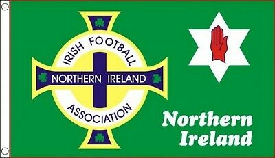 NORTHERN IRELAND FOOTBALL FLAG 5' x 3' Irish Red Hand of Ulster Crest Soccer