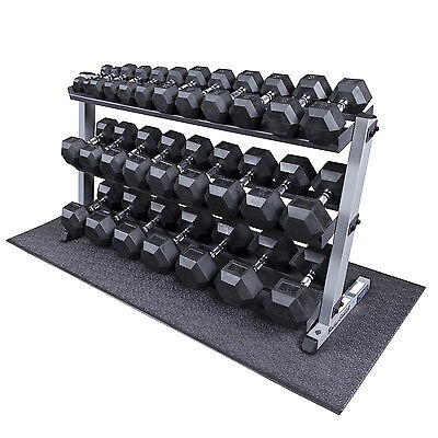 Heavy Duty Rubber Coated Dumbbell Set with Rack, Mat 5-70 lbs Pairs - Body-Solid
