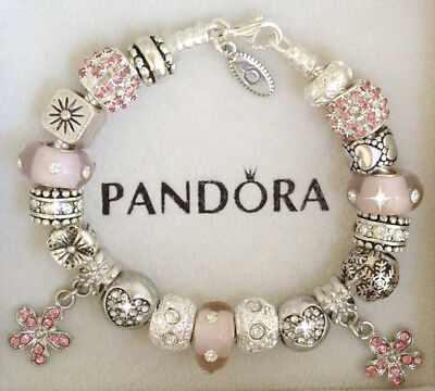 Authentic Pandora Silver Charm Bracelet with Pink Love European charms~