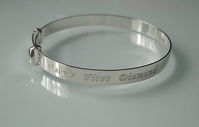 Brand New Sterling Silver Babies 1St Diamond Christening Expanding Bangle