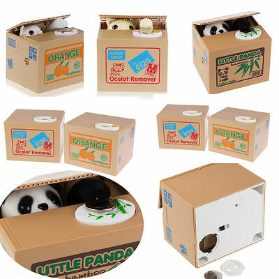 New Cute Stealing Coin Money Box Bank Cat Panda Piggy Bank Storage Saving Box