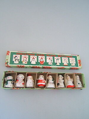 Vintage 1950's Box 8 Original Christmas Card Place Settings Figures