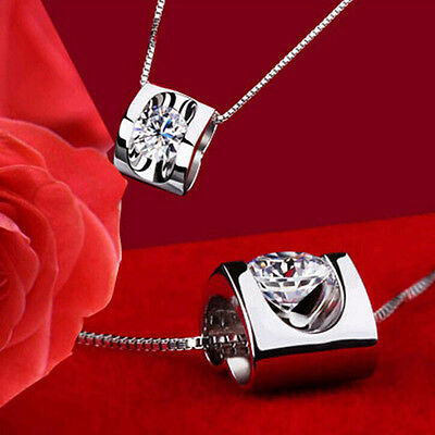 Antique Women 925 Sterling Silver Plated Love Heart-Shaped Crystal Necklace Gift