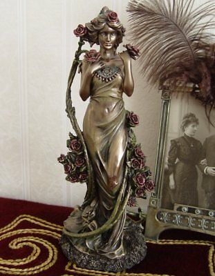 Art Nouveau Girl Figure Antique Style Glamorous Flower Floral Fantasy Bronze