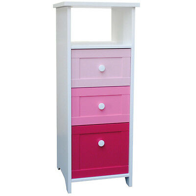 PRINCESS - 3 Drawer Tower Childrens Storage Chest - Pink / White IP9236649CH