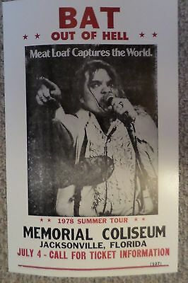 Meatloaf Bat out of Hell 1978 Summer Tour Poster Print
