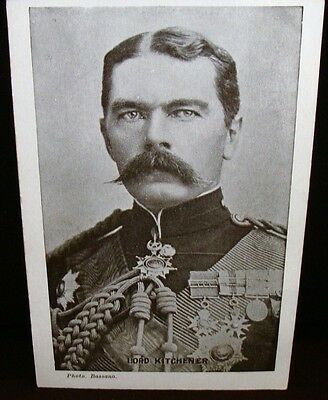 Lord Kitchener in Uniform Early 1900s B&W Postcard With Portrait by Bassano