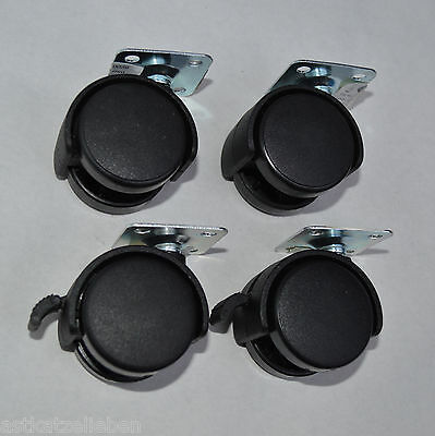 4 Furniture Castors Ø40mm Turnable 2 St with Brake Metal Plate WHEELS CASTERS
