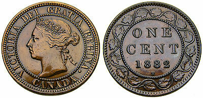 1882 Canada 1 One Large Cent Obverse 2 Queen Victoria Lacquered VF-25 Penny