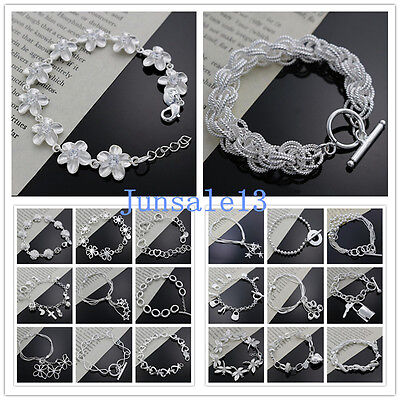 wholesale solid 925sterling silver jewelry chains bracelet charm bangle gift Box