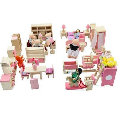 Dolls House Furniture Wooden Set People Dolls Toys For Kids Children Gift New SS