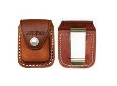 Orig. Zipppo Brown Leather Clip-On Clip Belt Bag Pouch Case Holder *new In Box*