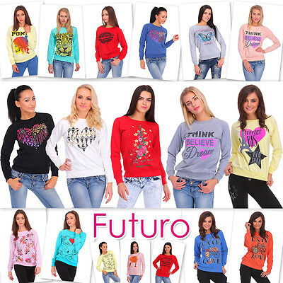 Womens Sweatshirt With Print Long Sleeve Pullover Top Sweat Girls Jumper Blouse