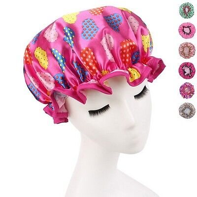 New Ladies Durable Shower Cap Printing Elastic Band Waterproof Bathing Hair Hat