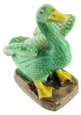 Antique Chinese Export Ceramic Beautiful Green Figural Duck Bird Figurine 3""