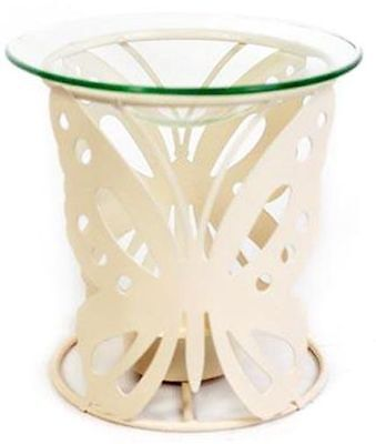 Cream Metal Oil Burner ~ Butterfly Design Fragrance Oil Burner