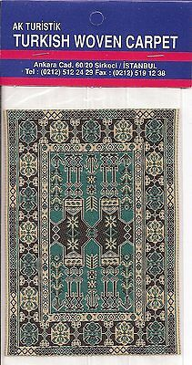 Imported Turkish Woven Miniature Carpet - Teal Tan Black