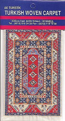 Imported Turkish Woven Miniature Carpet - Ivory Blue Red