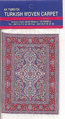 Imported Turkish Woven Miniature Carpet - Blue Red Ivory