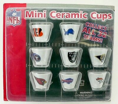 NFL Team Logos Miniature Ceramic Cups - Vending Display Card