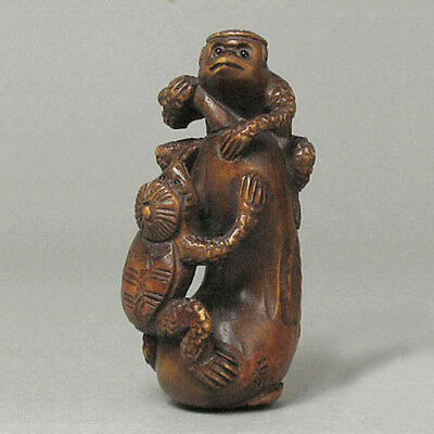 Boxwood Netsuke TWO MONSTER PLAYING Carving WN538