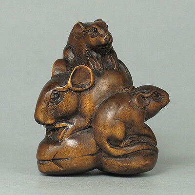 Boxwood Netsuke 3 MICE Figurine SALE! (WN093)