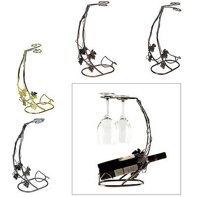 Metal Wine Glass Cup Stemware Bottle Holder Display Rack Stand Kitchen Bar Decor