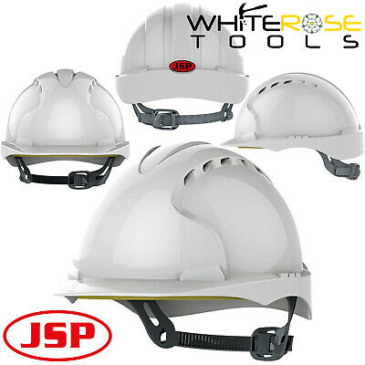JSP White Evo2 Vented Safety Helmet Hard Hat Standard Peak Builders Work PPE