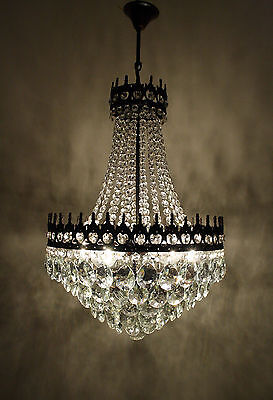 Antique/Vintage  French Basket Style Brass  &  Crystals HUGE Chandelier 1950's