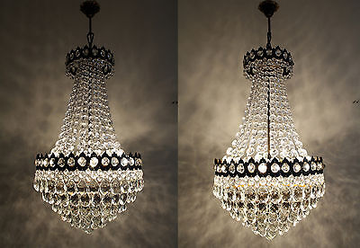 Pair of Antique French Basket Style Brass &  Crystals  Chandelier