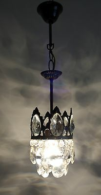 Antique French Basket Style Brass & Crystals  Mini Chandelier 1950's
