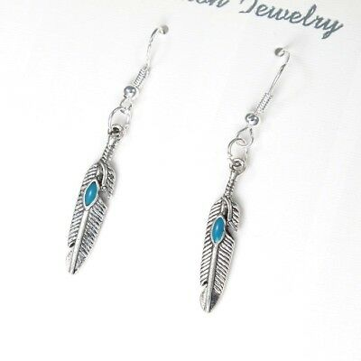 24 x Wholesale Vintage Silver Dangling Dangle Tribal Feather Turquoise Earrings