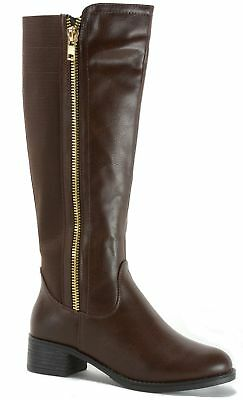 Alpine Swiss Davos Women's Riding Boots Knee Length Low Heel 2 Zip Elastic Shaft