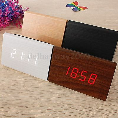 【Voice Control】Wooden Triangular Wood LED Alarm Digital Desk Clock Thermometer