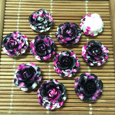 NEW 20pcs Resin Rose Flower flatback Appliques For phone/wedding/crafts MH9