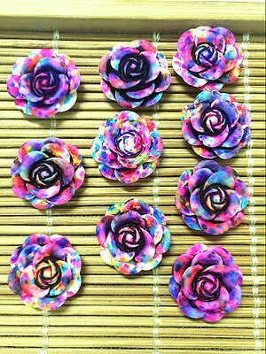NEW 20pcs Resin Rose Flower flatback Appliques For phone/wedding/crafts ML2