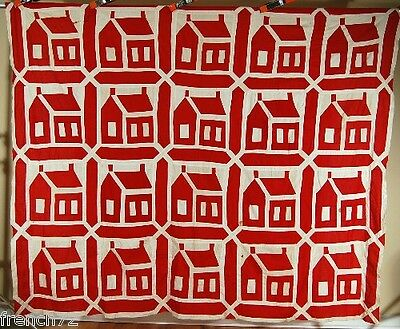 OUTSTANDING Vintage 1880's Turkey Red & White School House Antique Quilt Top!